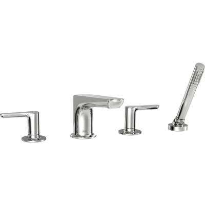 Studio S 2-Handle Deck-Mount Roman Tub Faucet for Flash Rough-in Valve with Hand Shower in Polished Chrome