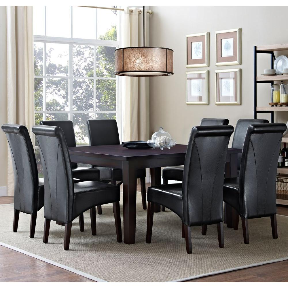 simpli home avalon 9 piece midnight black dining set axcds9 avl bl the home depot. Black Bedroom Furniture Sets. Home Design Ideas