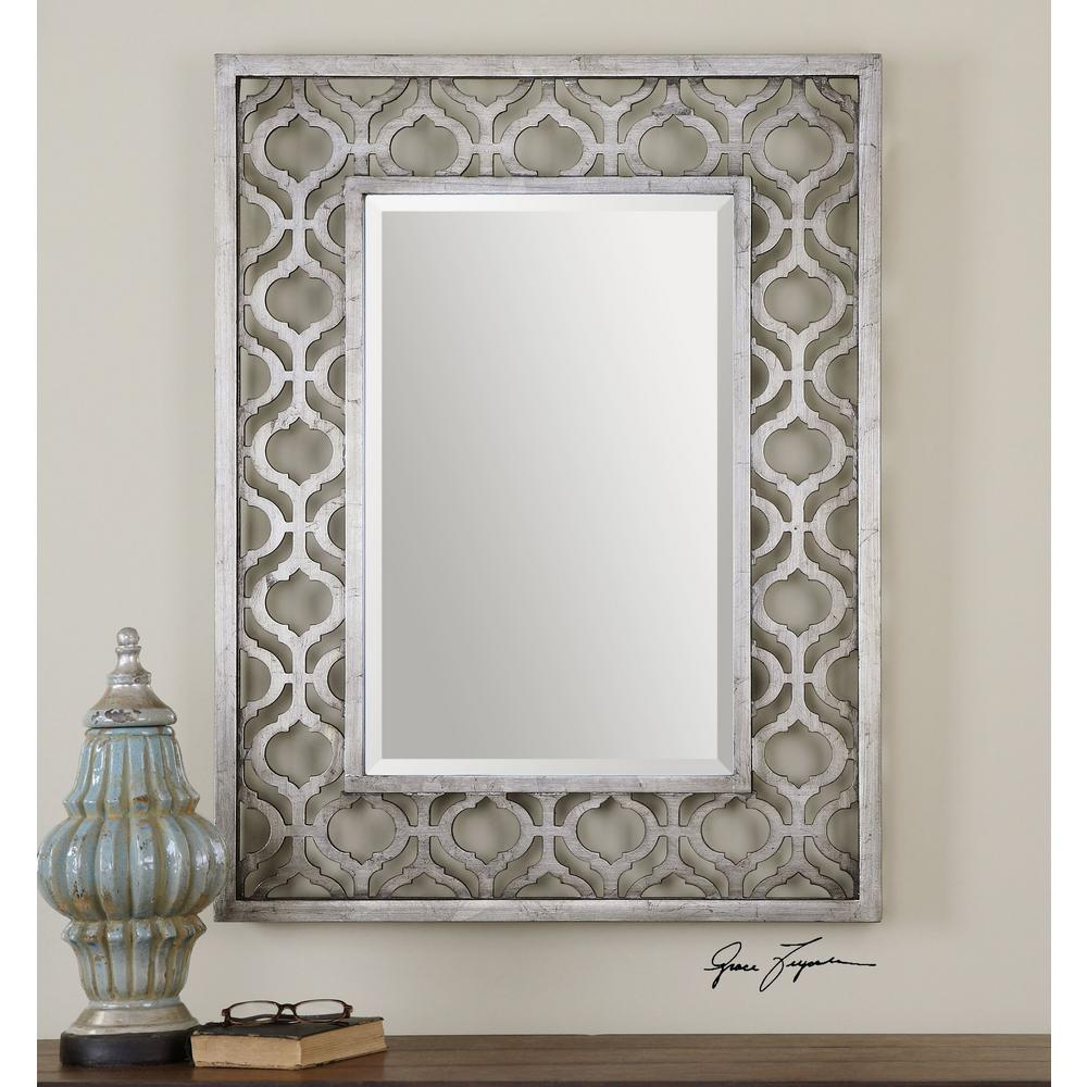 Global Direct 40 in. x 31 in. Silver Wood Framed Mirror-13863 - The ...