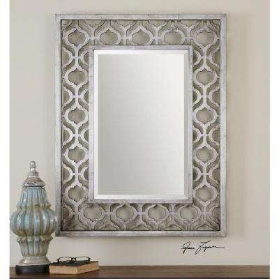 40 in. x 31 in. Silver Wood Framed Mirror