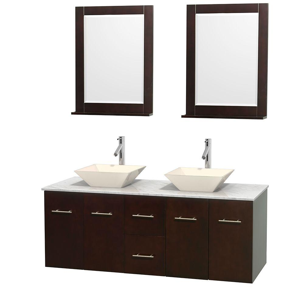 Wyndham Collection Centra 60 in. Double Vanity in Espresso with Marble Vanity Top in Carrara White, Bone Porcelain Sinks and 24 in. Mirror