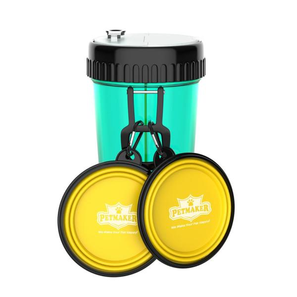 3-in-1 Travel Pet Feeding Containers in Blue/Yellow