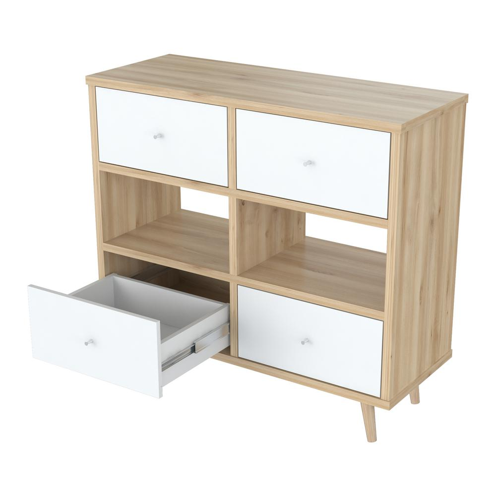 Baxton Studio Harlow 6 Drawer White And Medium Brown Wood
