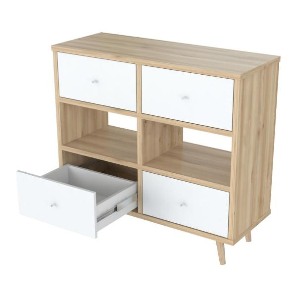 Inval 4-Drawers Maple and Polar White Dresser COM-5128