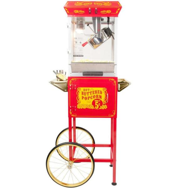 Funtime 4 oz. Red and Gold Hot Oil Popcorn Machine with