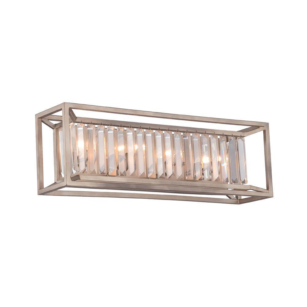 Linares 4-Light Aged Platinum Interior Incandescent Bath Vanity Light