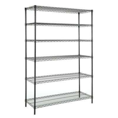 6 Shelf 72 in. H x 48 in. W x 18 in. D Wire Unit in Black