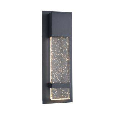 1 Light Black Integrated LED Outdoor Wall Lantern Sconce Light with Seeded Glass