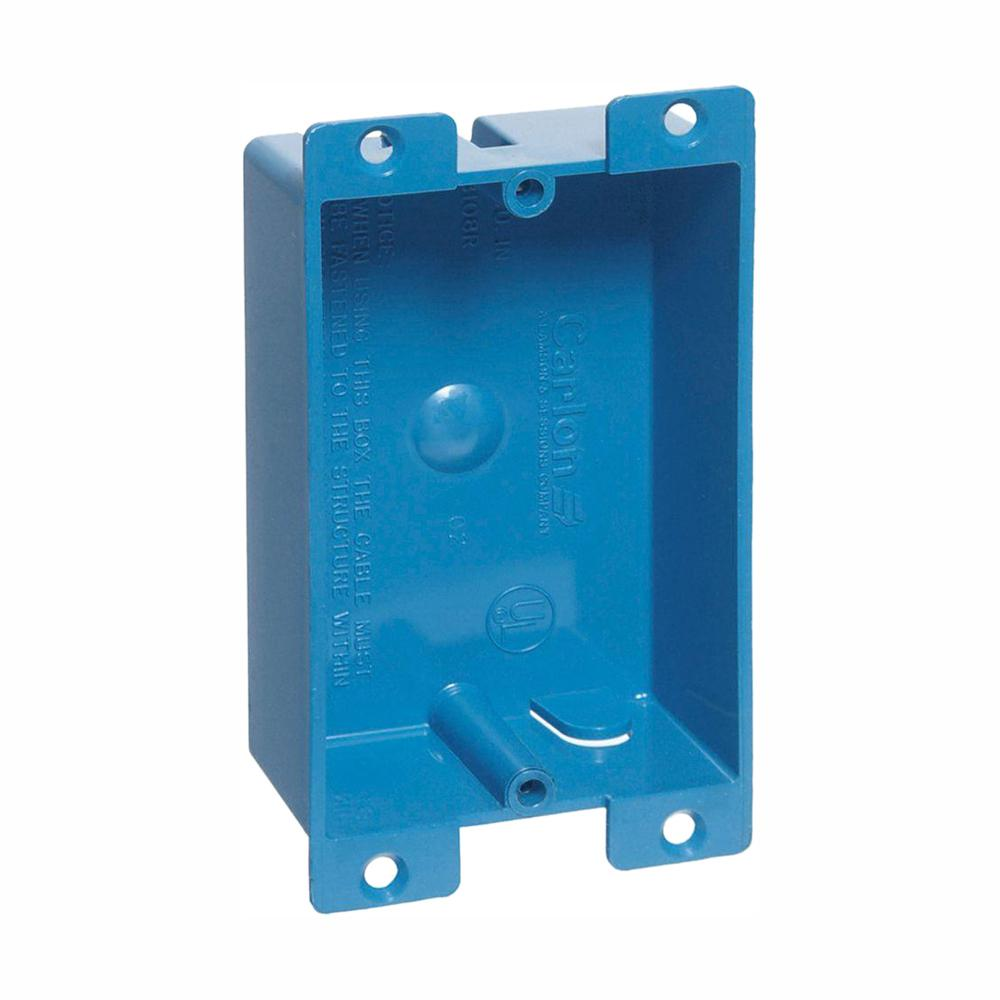 Carlon 1 Gang 8 Cu In Blue Pvc Flanged Shallow Old Work Electrical Outlet Box Case Of 25 B108r Upc The Home Depot
