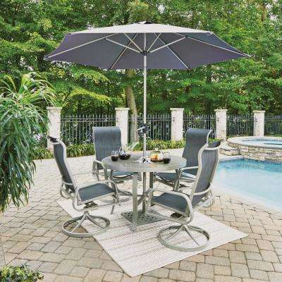 South Beach Gray 7-Piece Aluminum Round Outdoor Dining Set