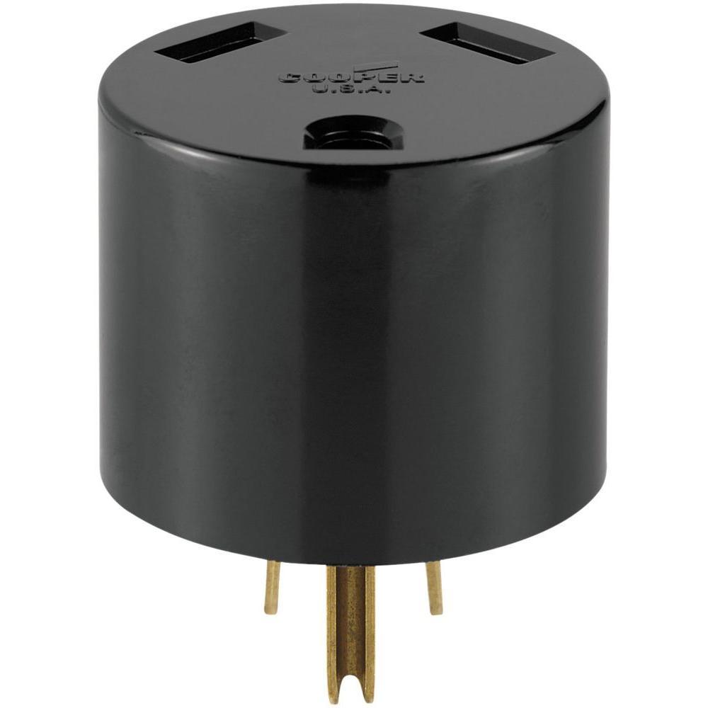 30 Amp 2-Pole 3-Wire 125-Volt Heavy Duty Grade Travel Trailer Receptacle Adaptor Plug,  Black