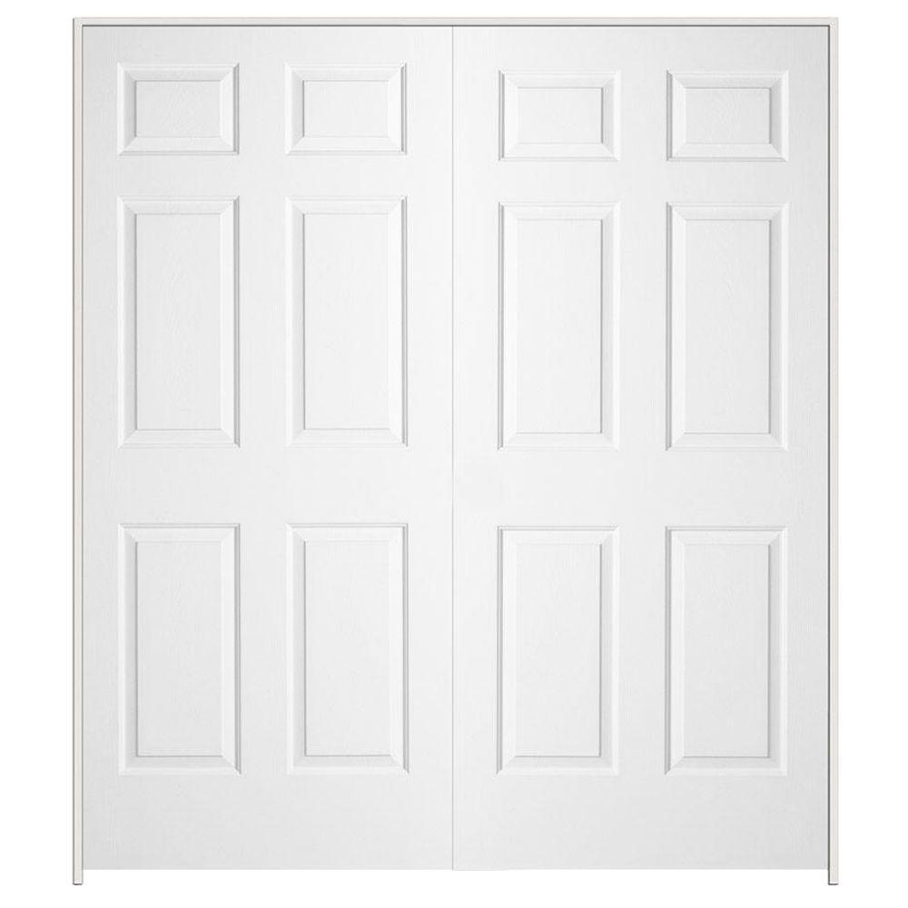 60 in x 80 in colonist primed textured molded composite Double prehung interior doors home depot