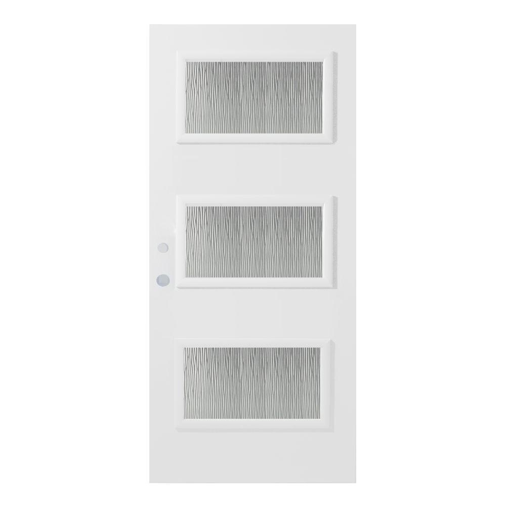 36 in. x 80 in. Dorothy Grain 3 Lite Painted White