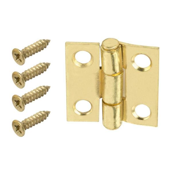 1 in. Satin Brass Narrow Utility Non-Removable Pin Hinges (2-Pack)