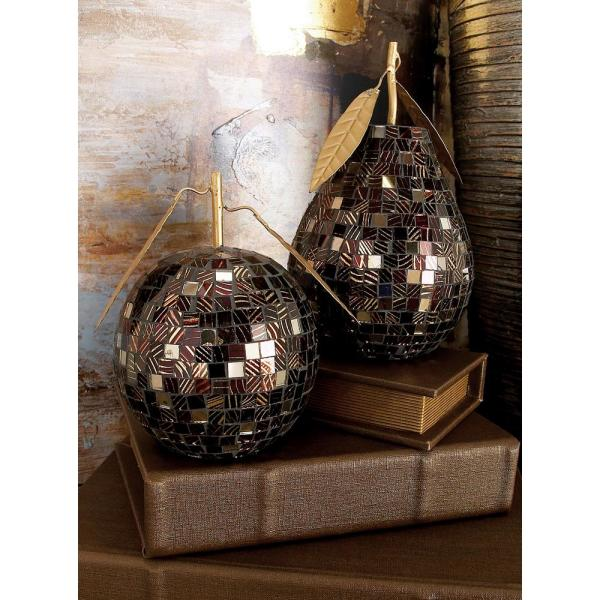 Litton Lane Black Iron and Gold Reflective Glass Mosaic Pear and