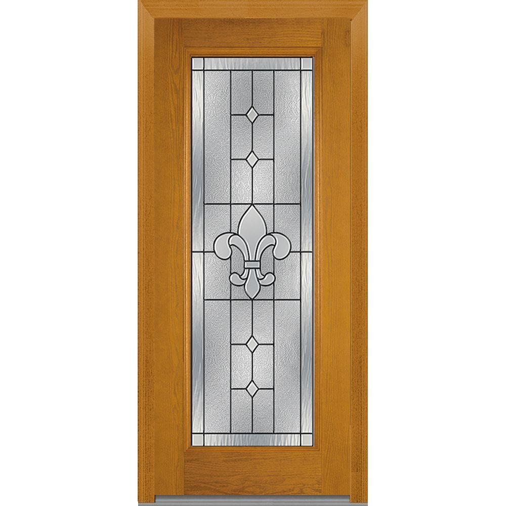 Mmi door 37 5 in x in carrollton decorative glass full lite oak finished fiberglass for Exterior glass doors home depot