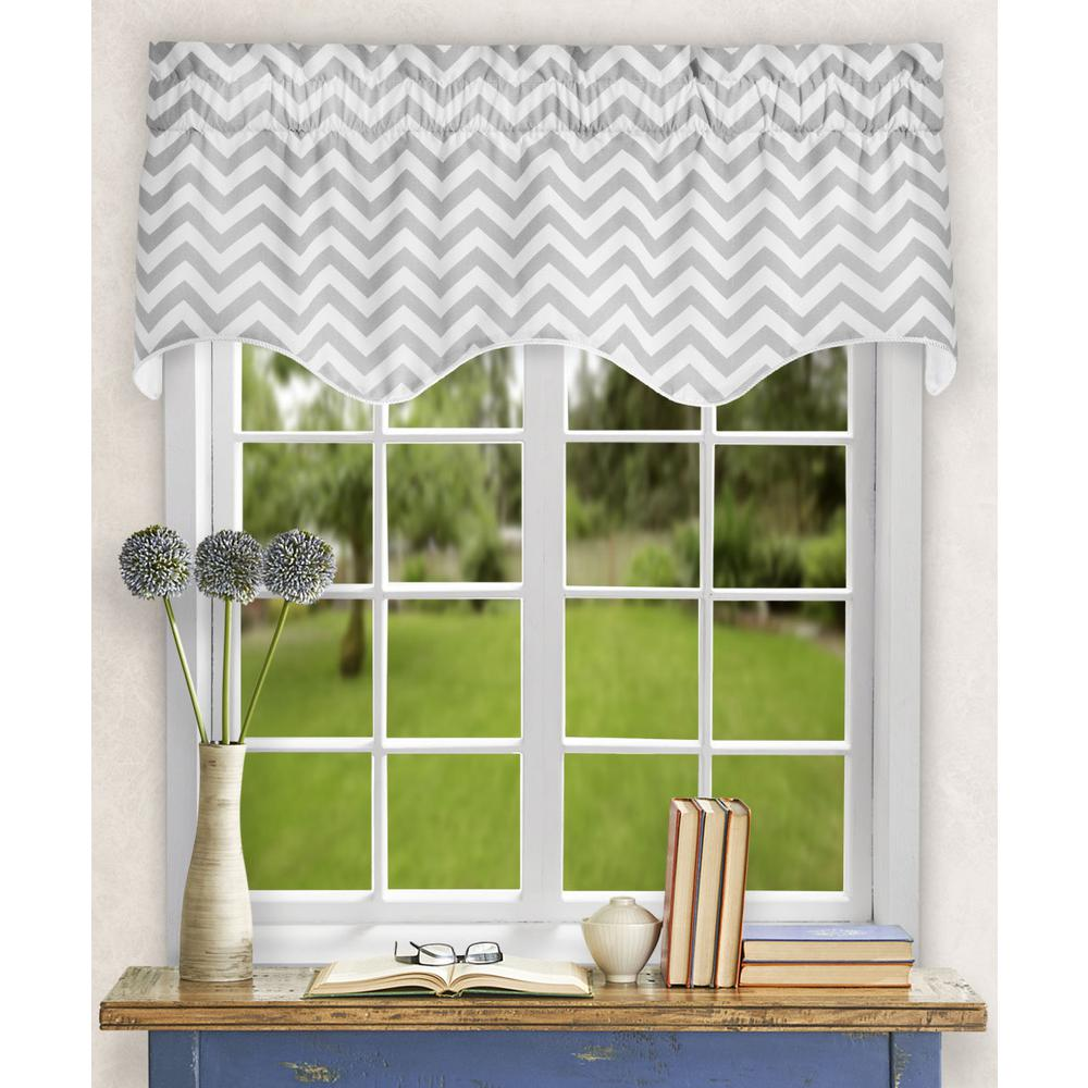 Ellis Curtain Reston 17 in. L Cotton Lined Scallop Valance in Sterling