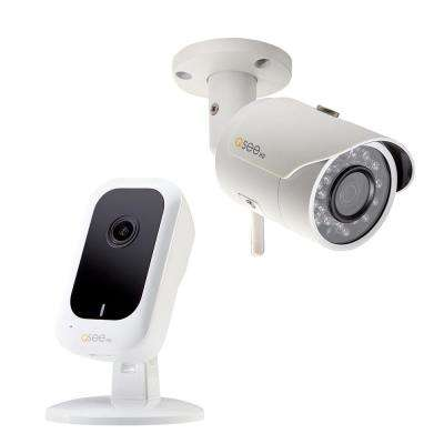 3MP IP Wi-Fi Mini Cube Surveillance Camera and 3MP IP Wi-Fi Bullet Surveillance Camera Security Bundle