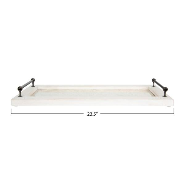 12R Studios White Decorative Tray with Handles-EC12 - The Home Depot