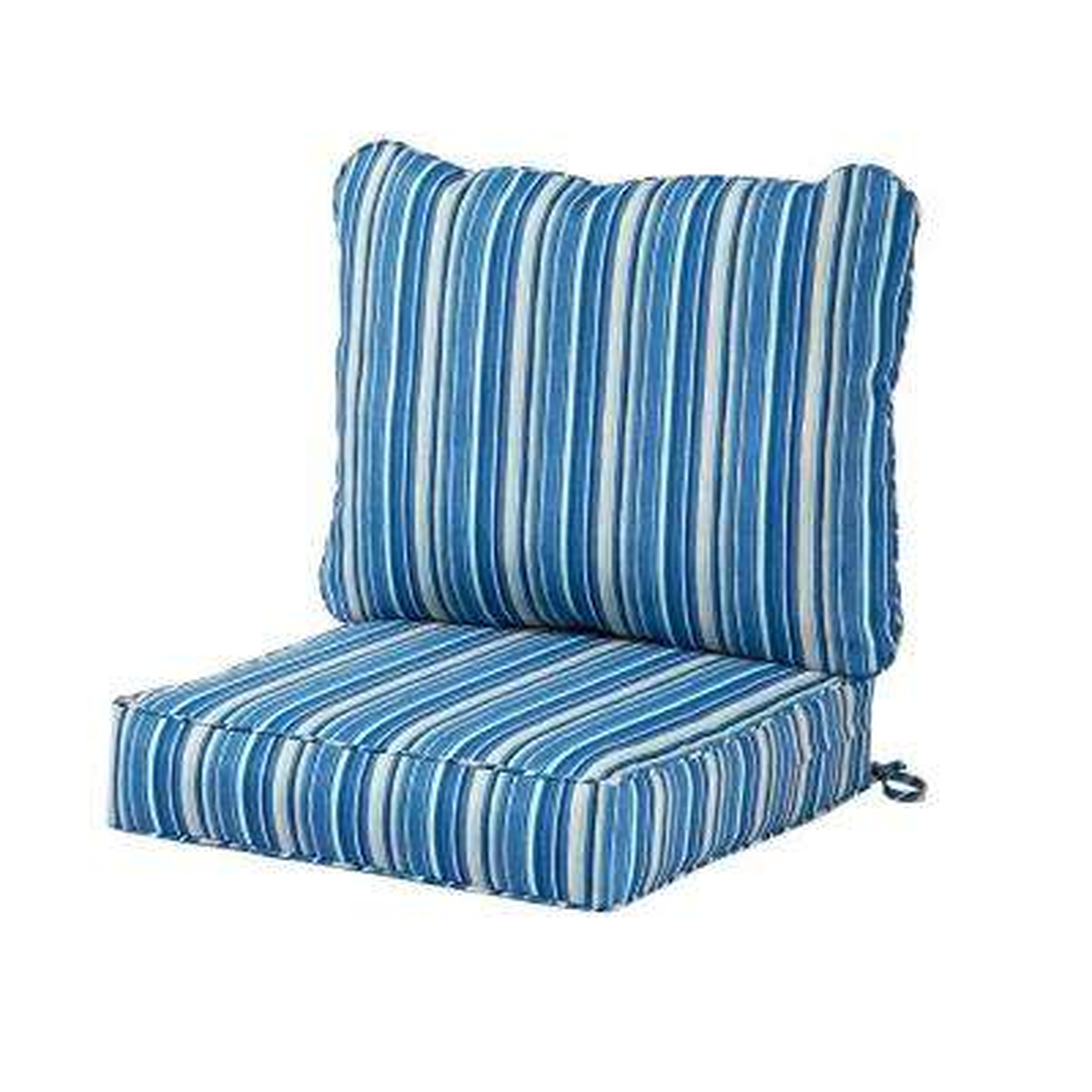 Coastal Sapphire Stripe 2-Piece Deep Seating Outdoor Lounge Chair Cushion Set