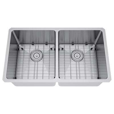 All-in-One Undermount Stainless Steel 31 in. 50/50 Double Bowl Kitchen Sink
