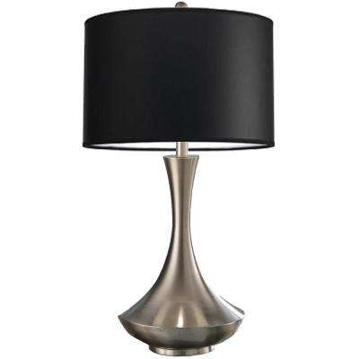 Aladdin Contemporary 30 in. Brushed Steel Compact Fluorescent Table Lamp with Black Shade
