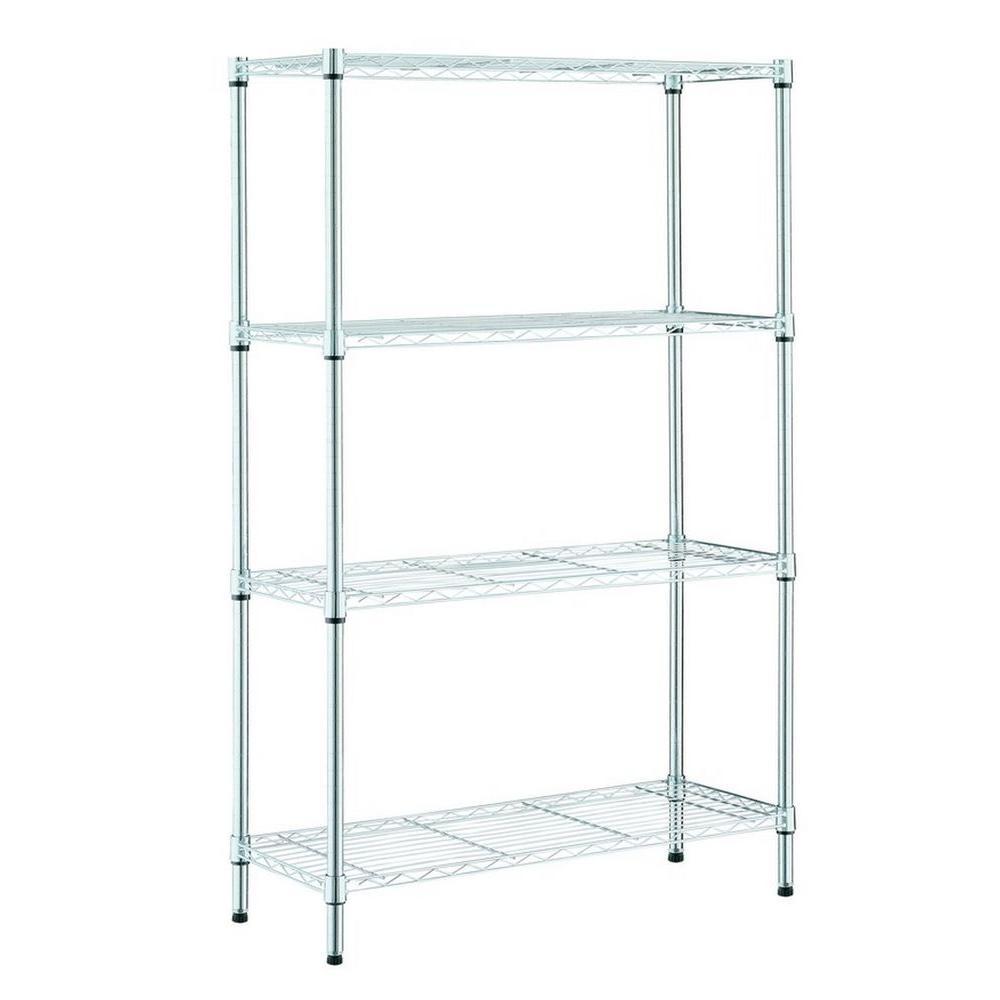 4-Tier Metal Garage Storage Shelving Unit in Chrome (36 in. W x 54 in. H x 14 in. D)
