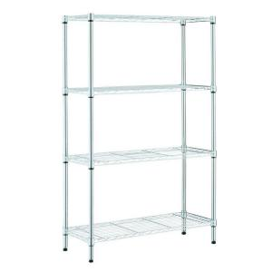 Chrome 4-Tier Metal Wire Shelving Unit (36 in. W x 54 in. H x 14 in. D)