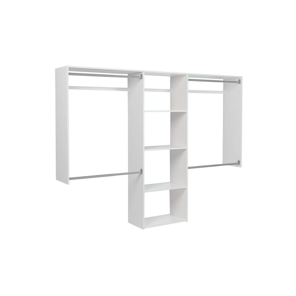Martha Stewart Living 14 In. D X 72 In. H X 96 In. W Classic White Wood  Essential Plus Closet Kit 680071   The Home Depot