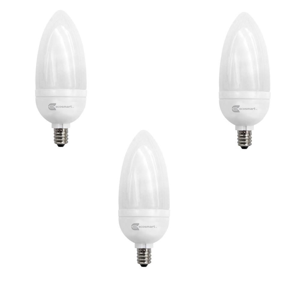 EcoSmart 40-Watt Equivalent B10 Non-Dimmable CFL Light Bulb Daylight (3-Pack)