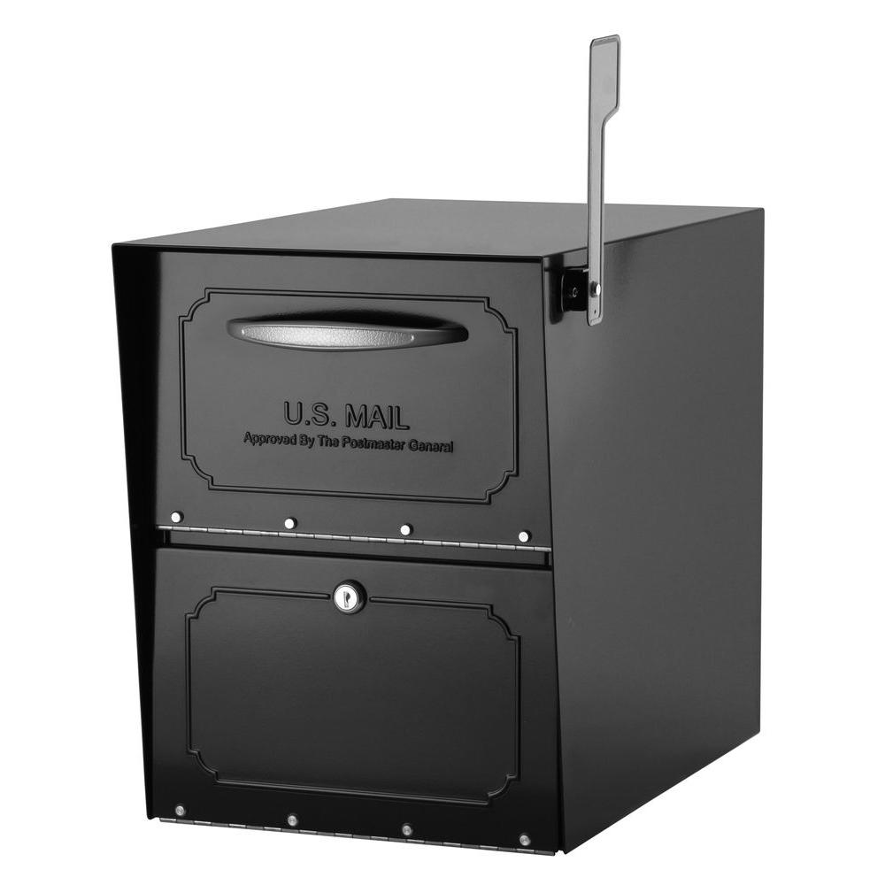 Architectural Mailboxes Oasis Jr. Elite Black Post-Mount Locking Mailbox