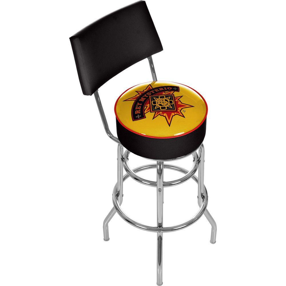Trademark WWE Rey Mysterio Chrome Padded Swivel Bar Stool with Back