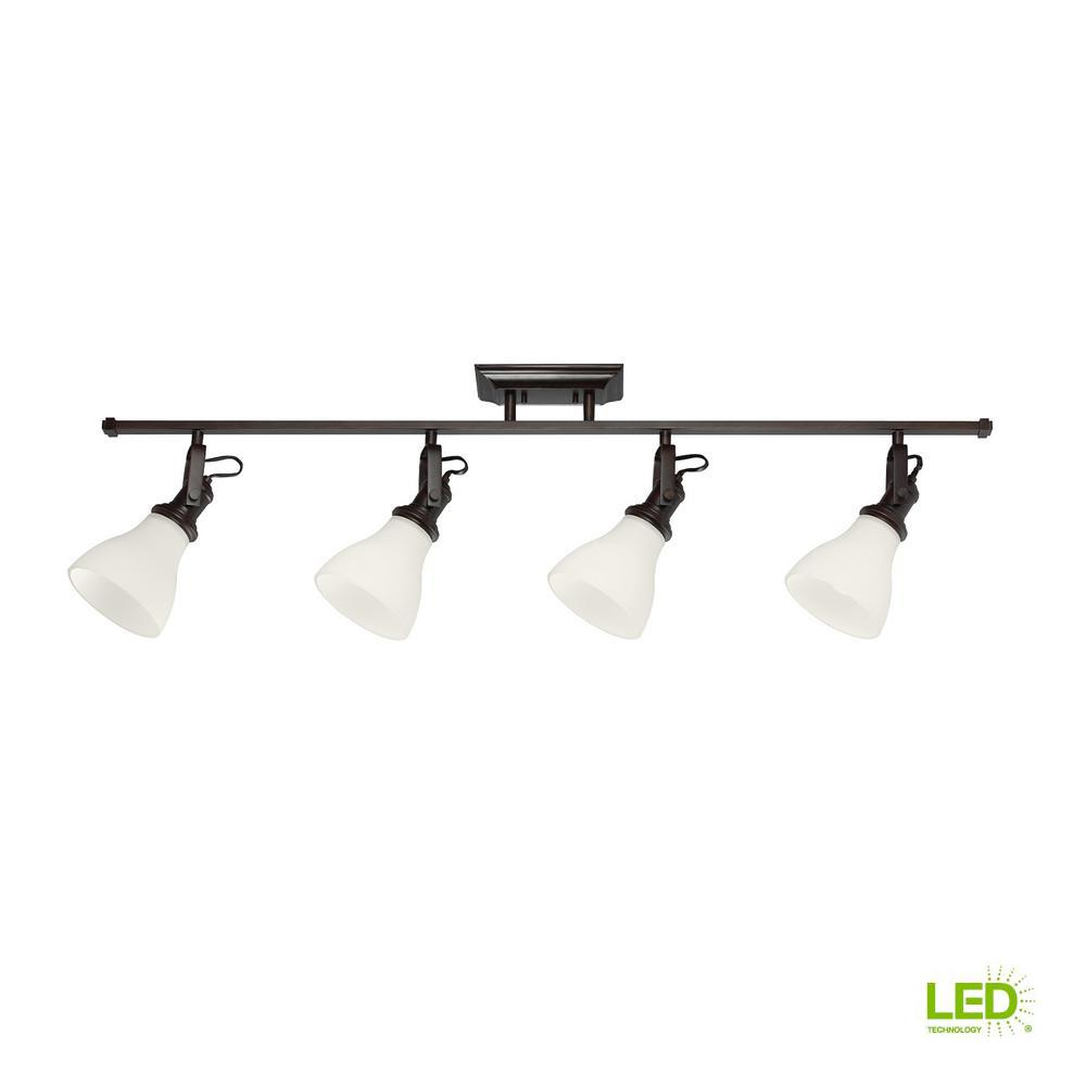 Sea Gull Lighting 4 ft. 4-Light Burnt Sienna LED Track Lighting Kit The Sea Gull Lighting Track Lighting 4-light track lighting kit in burnt sienna is an ENERGY STAR qualified lighting fixture. It uses LED bulbs to save you both time and money. It is supplied with 6.5 in. of wire.
