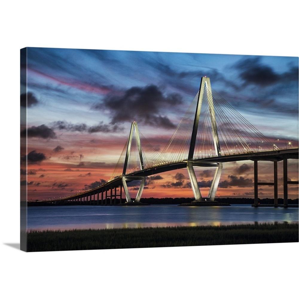 """Arthur Ravenel Jr. Bridge crossing the Cooper River at sunset"" by Scott Stulberg Canvas Wall Art"