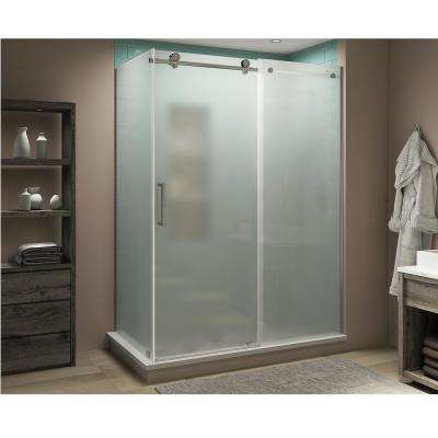 Coraline XL 56 in. - 60 in. x 38 in. x 80 in. Frameless Corner Sliding Shower Enclosure Frosted Glass in Stainless Steel