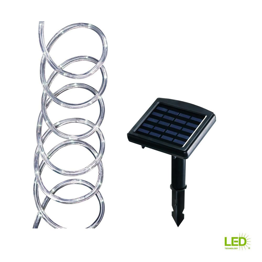 Solar Powered 16 ft. Clear Outdoor Integrated LED 5000K Warm White
