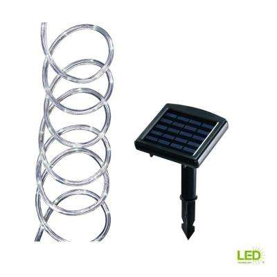 Solar Powered 16 ft. Clear Outdoor Integrated LED 5000K Warm White Landscape Rope Light with Remote Panel