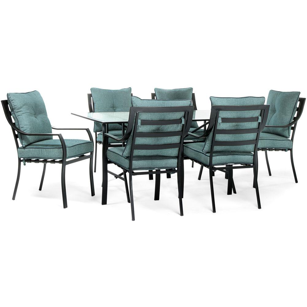 Lavallette Black Steel 7-Piece Outdoor Dining Set with Ocean Blue Cushions