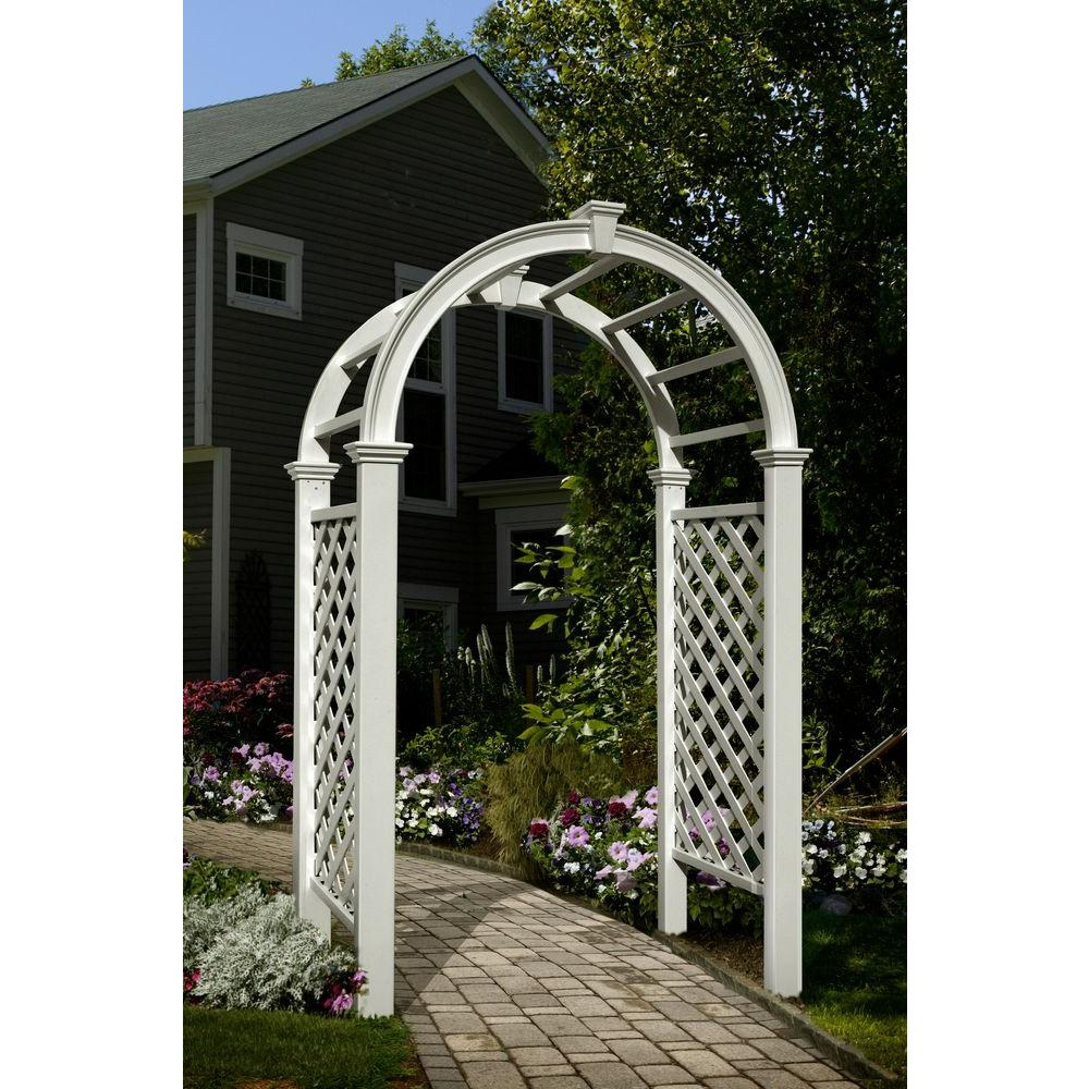 Delightful New England Arbors Livingston 91 In. X 49 In. Vinyl Arbor