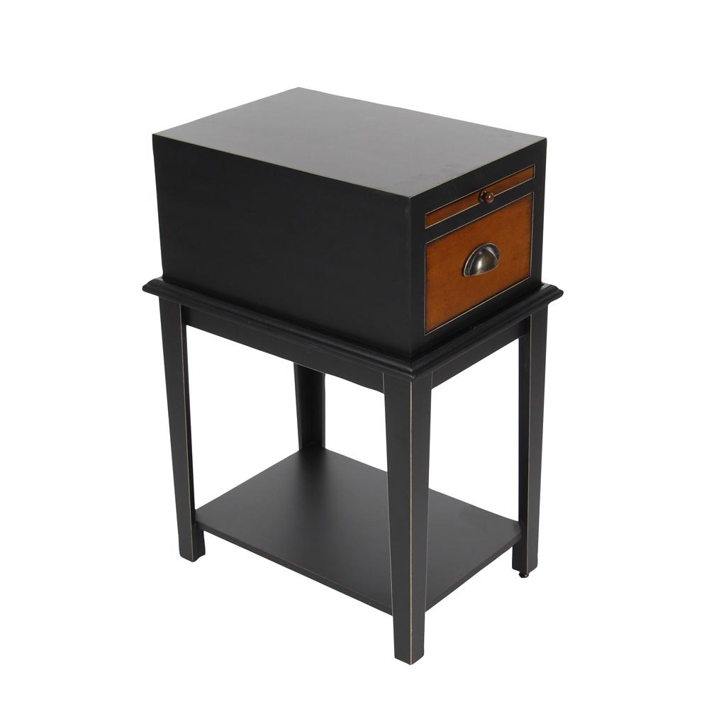 Matte Black 1-Drawer Wooden Side Table