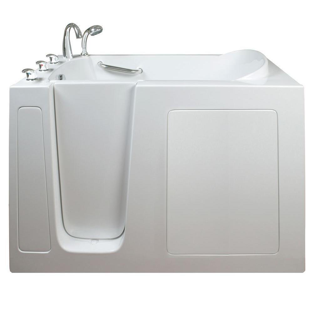 Ella Narrow 4.42 ft. x 26 in. Walk-In Soaking Bathtub in White with ...