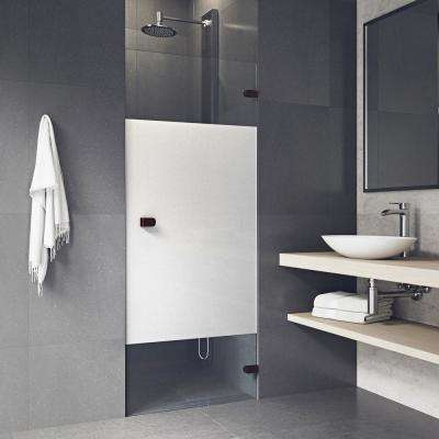 Tempo 28.5 in. x 70.625 in. Frameless Pivot Shower Door with Hardware in Oil Rubbed Bronze and Frosted Privacy Panel
