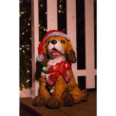 21 in. Dog Wearing Santa Hat and Red Scarf Decor with 3 LED Lights
