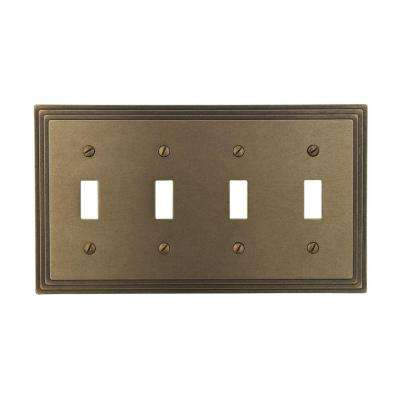 Steps 4 Toggle Wall Plate - Rustic Brass