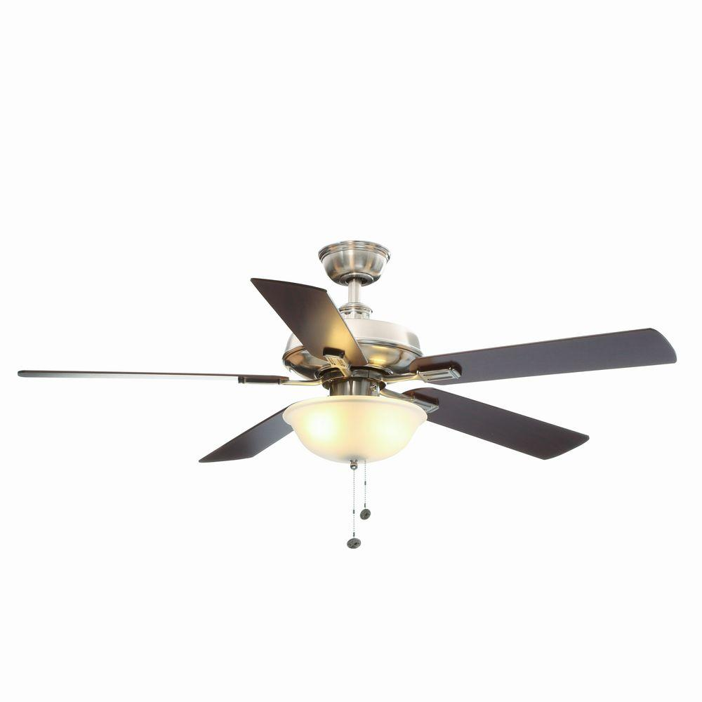 Hampton Bay Larson 52 In Indoor Brushed Nickel Ceiling Fan With Light Kit