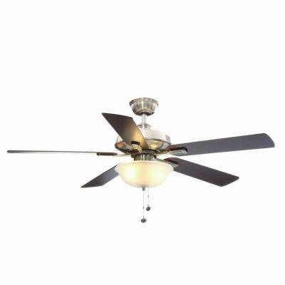 Larson 52 in. Indoor Brushed Nickel Ceiling Fan with Light Kit