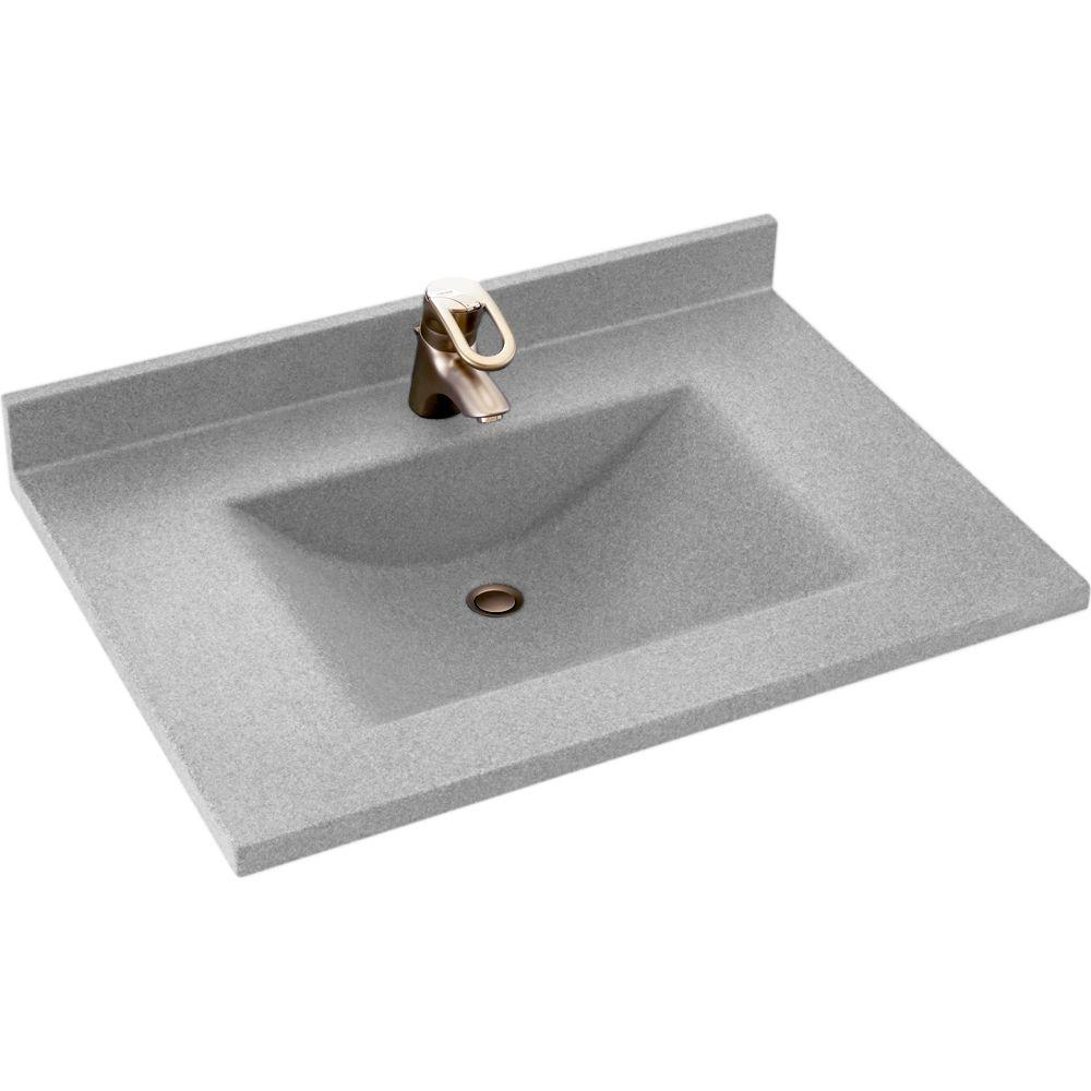 Swan Contour 37 in. W x 22 in. D x 10-1/4 in. H Solid-Surface Vanity Top in Tahiti Gray with Tahiti Gray Basin