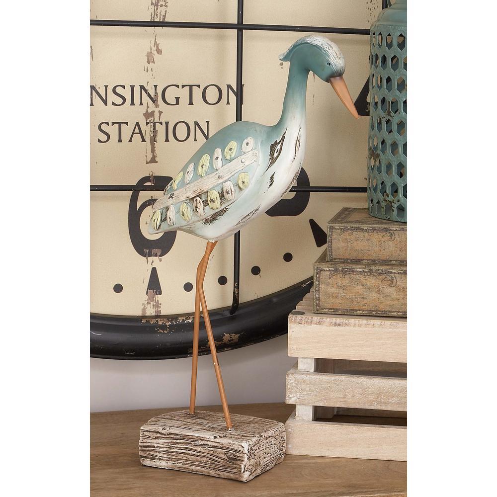 10 in. x 20 in. Coastal Living Aqua Green Polystone Sea Bird