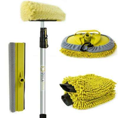 Car Wash Cleaning Kit & 12 ft. Extension Pole Soft Car Scrub Brush, Car Squeegee, Wash Mitts, Microfiber Cleaning Head