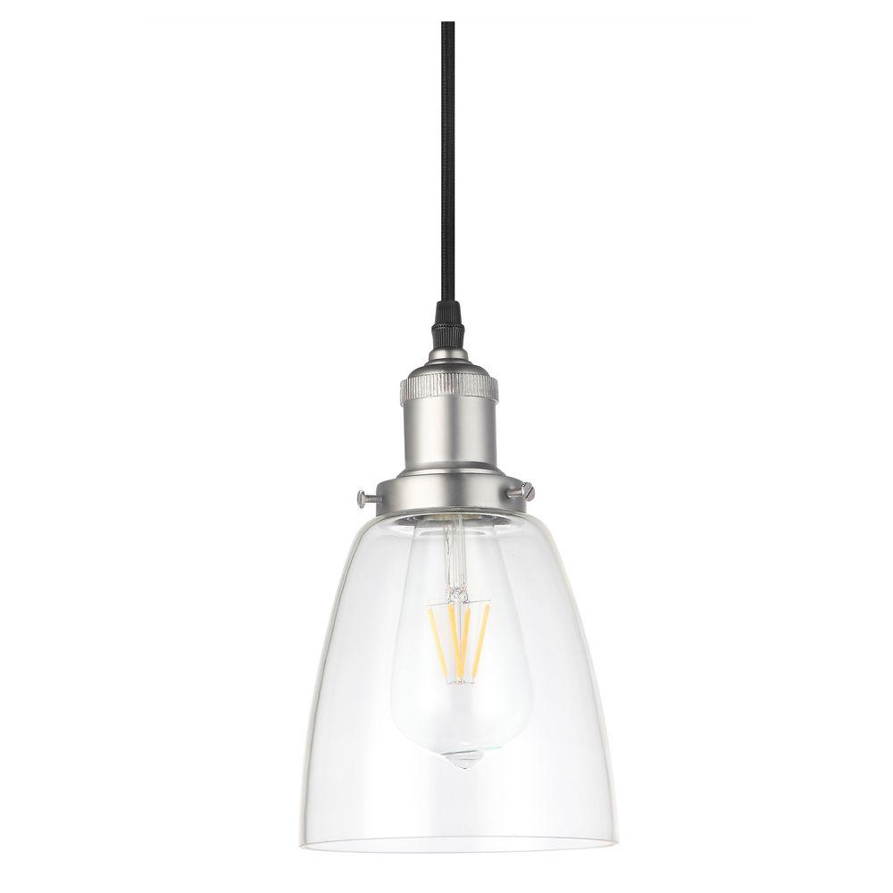 vonn lighting delphinus 1light 5 in satin nickel led adjustable hanging industrial pendant with led filament the home depot